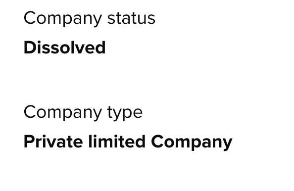 Company Dissolved